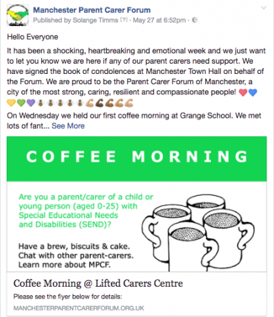 Screenshot of Solange's FB post about Manchester's emotional week in May + news about coffee mornings