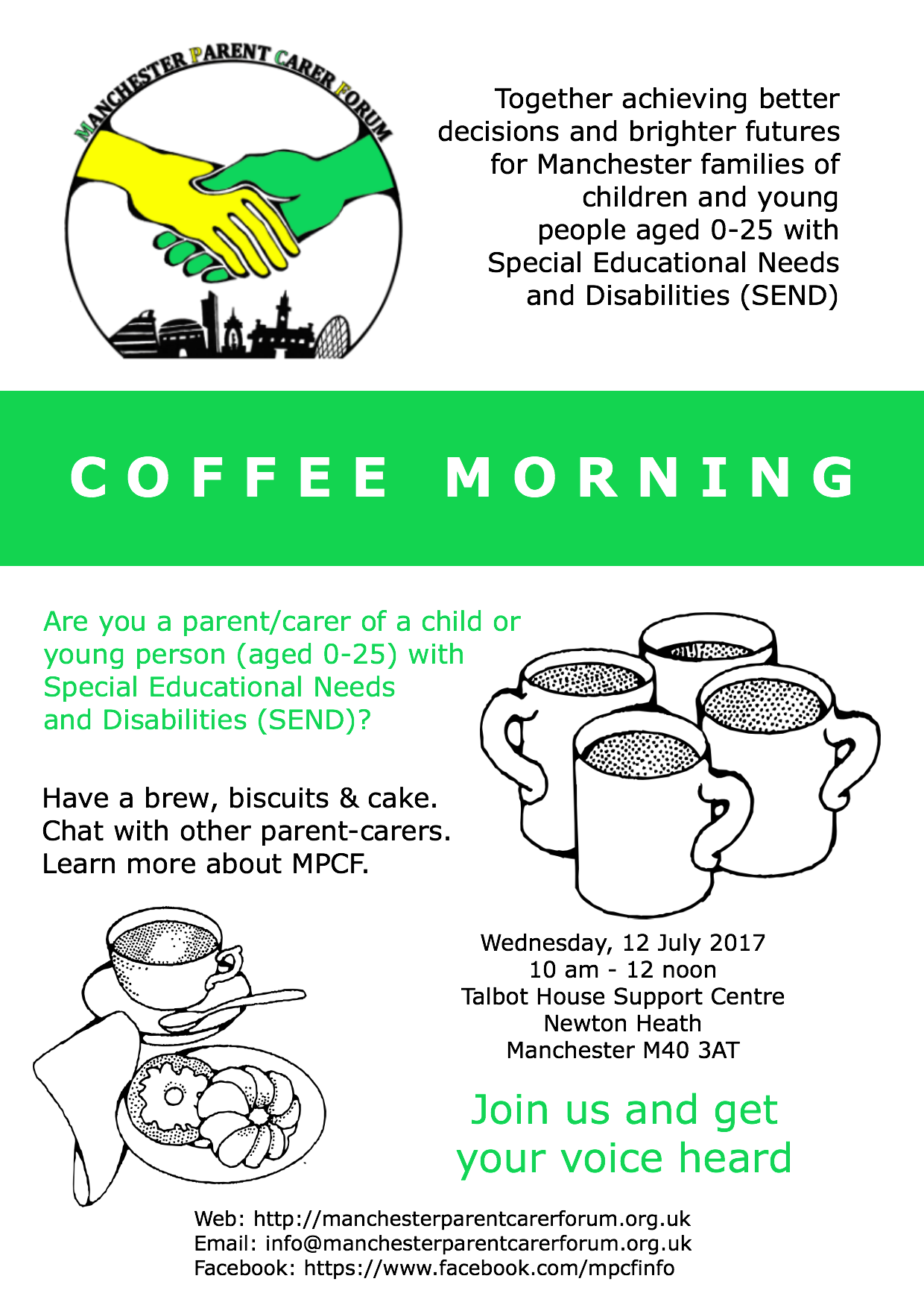 flyer for the MPCF Coffee Morning at Talbot House Support Centre on 12 July 2017