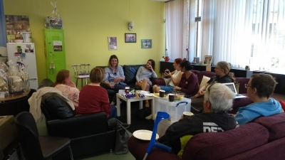 Parents and carers are chatting at an MPCF coffee morning at Lifted carers' centre.