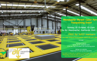 MPCF Trampolining Event at Go Air Manchester poster with MPCF and Go Air logos | image credit: https://www.goairtrampolinepark.co.uk/locations/manchester/