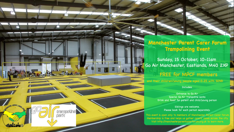MPCF Trampolining Event at Go Air Manchester poster with MPCF and Go Air logos   image credit: https://www.goairtrampolinepark.co.uk/locations/manchester/