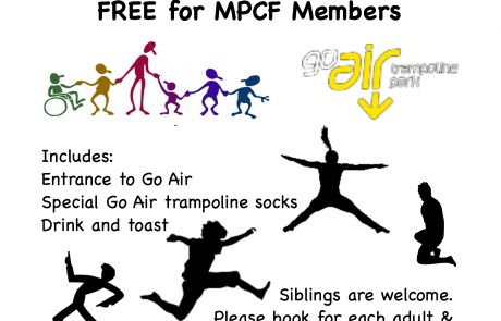 MPCF Trampolining Event at Go Air Manchester flyer | Go Air logo via: https://www.goairtrampolinepark.co.uk/locations/manchester/ | clip art via clker.com and openclipart.org