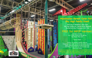 MPCF Family Event at Sky High Adventure poster with MPCF and Sky High logos | image credit: Sky High Adventure Manchester