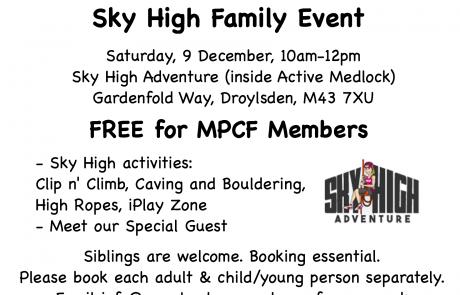 MPCF Family Event at Sky High Adventure flyer | Sky High Adventure logo via: http://www.skyhighadventure.com | clip art via clker.com