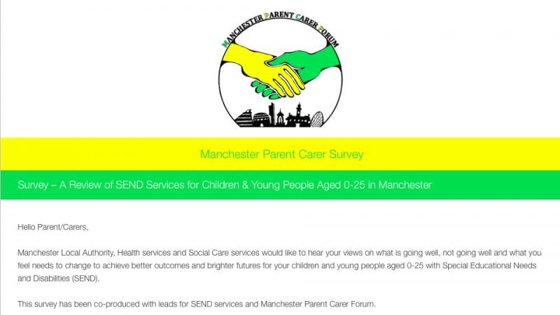 screenshot of the Manchester SEND Survey for autumn 2017