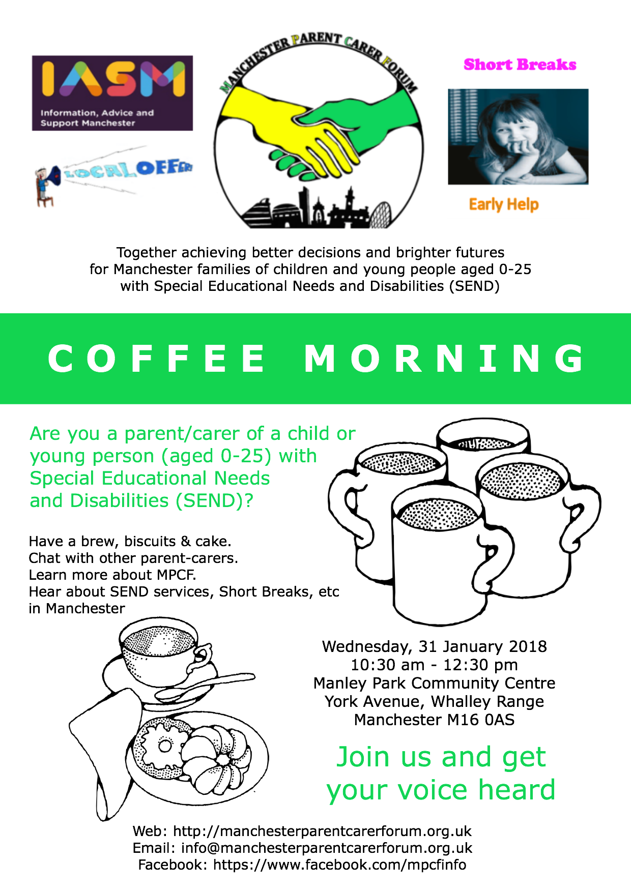 MPCF Coffee Morning Flyer - Manchester Asian Parent Carers - Jan2018