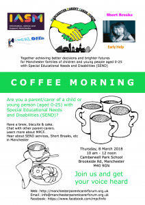Flyer for MPCF's coffee morning at Camberwell Park School - Mar2018