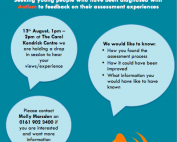 Screenshot of the poster calling for feedback about the 'old' (current) assessment pathway in Manchester