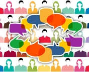 illustration of a number of men and women with dialogue balloons depicting discussion   image credit: pixabay.com