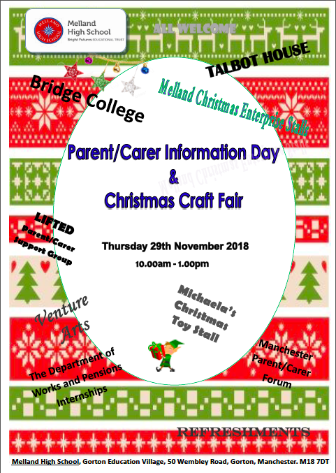Flyer for Melland High School's Information Day & Christmas Craft Fair