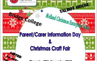 Header for Melland High School's Information Day & Christmas Craft Fair