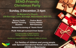 Poster for MPCF's SEND Christmas Party | Includes a Christmas-themed background with loads of Christmas gifts | image credits: George Dolgikh from pexels.com