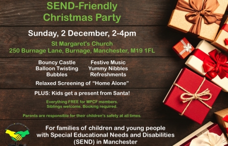 Poster for MPCF's SEND Christmas Party 2019 | Includes a Christmas-themed background with loads of Christmas gifts | image credits: George Dolgikh from pexels.com