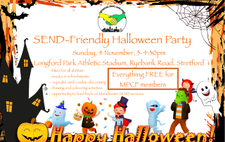 Poster for MPCF's SEND Halloween Party   Includes a halloween-themed frame (with bats, pumpkin, ghost, etc) and costumed children in the background   image credits: pixabay.com