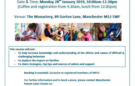 """Screenshot of the flyer for MPCF's """"Difficult Behaviour That Challenges Us"""" course"""