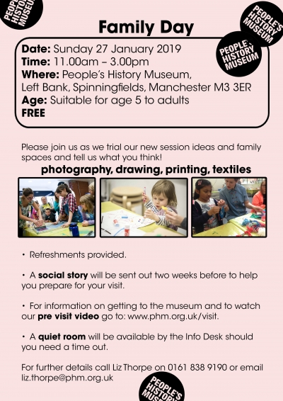 Flyer for People's History's Museum's Special Needs-Friendly Family Day