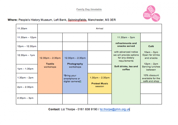 A colour-coded timetable showing activities happening at PHM's Family Day