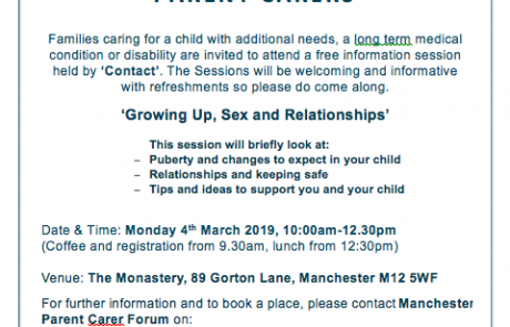 flyer for the 'Growing Up, Sex and Relationships' course