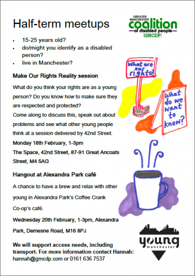 "Screen Shot of GMCDP's ""Half term meetup - Feb 19"" flyer"