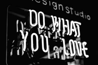 "lights spelling the words ""DO WHAT YOU LOVE"" 