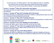 Contains details about the Contact-RHOSEY information sessions for 2019, together with logos of their partners and proponents: RHOSEY, Early Years SEND, Council for Disabled Children, The Communication Trust, I CAN, nasen, Contact