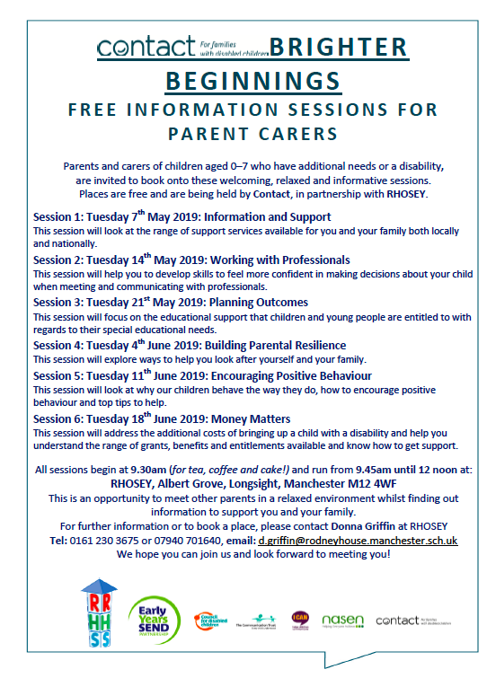 Screenshot of the flyer for the Contact-RHOSEY information sessions for 2019, which shows the events' details plus logos of their partners and proponents: RHOSEY, Early Years SEND, Council for Disabled Children, The Communication Trust, I CAN, nasen, Contact