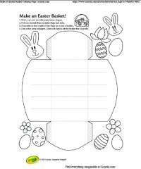 An outline of the shape for making an Easter basket + instructions | Image source: Crayola.com