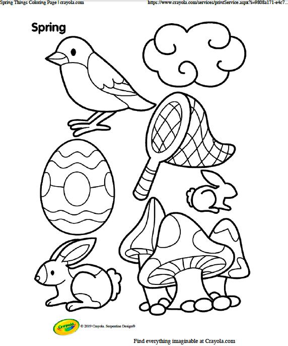 Various things associated with springtime: bird, cloud, Easter egg, net, bunnies, mushrooms   Image source: Crayola.com