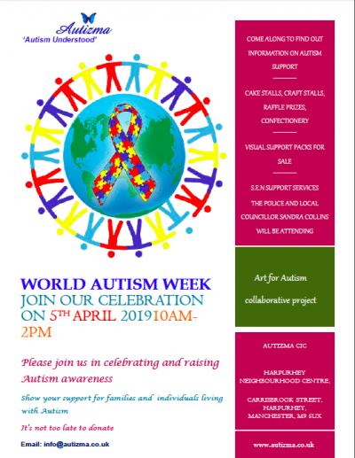 Poster for Autizma's World Autism Week celebration day, containing text about what's on for the day plus Autizma's logo and an illustration of the earth surrounded by different coloured outlines of people holding hands