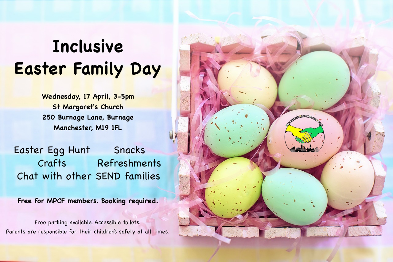 Poster for MPCF's Easter Family Day, showing details of the event with MPCF's logo on the foreground and 7 pastel-coloured Easter eggs inside a basket in the background | image source: pixabay.com
