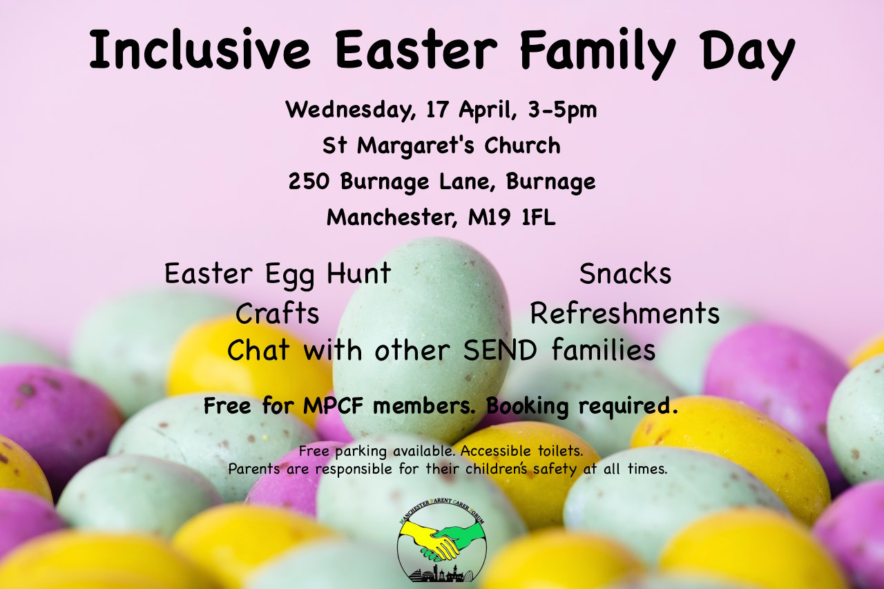 Poster for MPCF's Easter Family Day, showing details of the event with MPCF's logo on the foreground and a bunch of Easter chocolate eggs in the background   image source: pexels.com