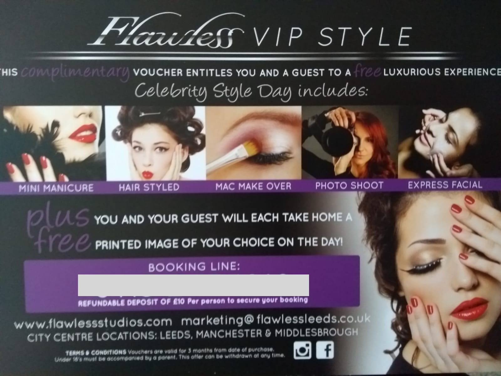Flawless Photography Studio's complimentary voucher for a free VIP experience at their studio