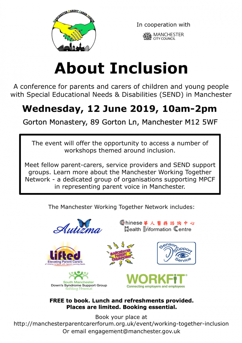 """Poster for the """"About Inclusion"""" conference, showing details of the event + MPCF's & MCC's logos and those of the member organisations of Manchester Working Together Network"""