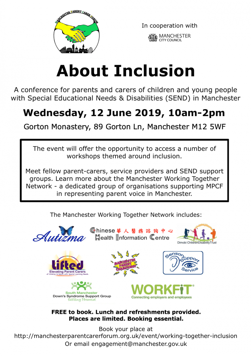 Poster showing details of Manchester Parent Carer Forum's About Inclusion conference