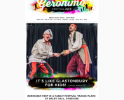 A screenshot of the Geronimo Festival website showing their logo, the site navigation menu, and a photo of the Cook & Line act on the slider