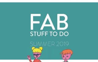 "Cover page of Manchester Local Offer's ""FAB THINGS TO DO SUMMER 2019"", showing the Local Offer logo, the document title, and an illustration of a girl & a boy walking"
