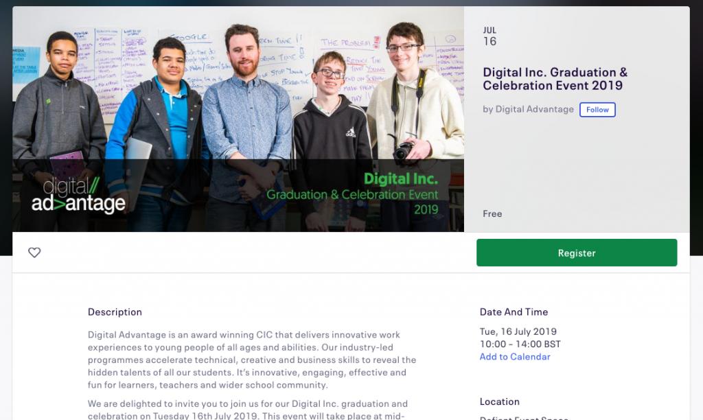 Screenshot of the Eventbrite entry for the Digital Inc. Graduation and Celebration event, showing details of the event and a photo showing students and an instructor