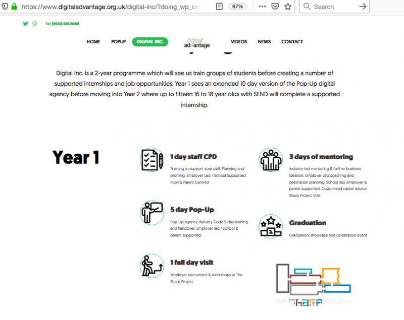 Screenshot of Digital Inc.'s web page in the Digital Advantage website, showing details of the programme, in words and icons