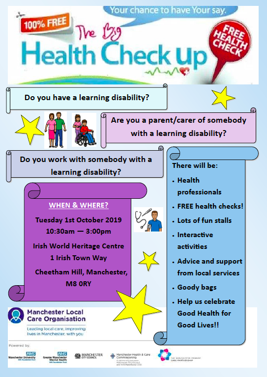 "Poster for ""The Big Health Check Up"" showing details of the event + illustrations of disabled people, carers and a medical professional"