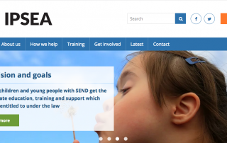 A screenshot of the IPSEA website's homepage, showing some text, IPSEA's logo and a photo of a girl blowing a dandelion