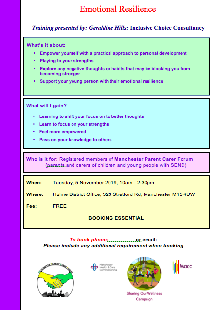 "Details of the MPCF Emotional Resilience course, to be delivered by Inclusive Choice Consultancy and made possible through Macc's ""Sharing Our Wellness"" Campaign"