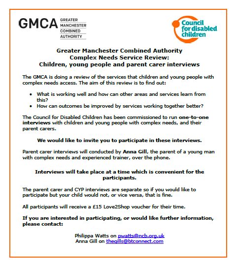 A cropped version of the flyer for the GMCA Complex Needs Service Review, showing details of the initiative + logos of GMCA and CDC