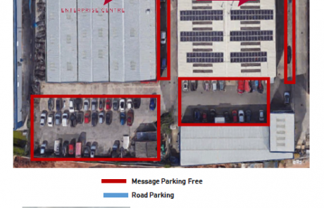 Photos of parking spaces at The Message Enterprise Centre, including an aerial view