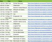 Screenshot of MPCF's autumn half-term 2019 spreadsheet of SEND activities
