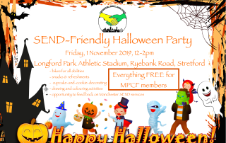 Poster for MPCF's SEND Halloween Party | Includes a halloween-themed frame (with bats, pumpkin, ghost, etc) and costumed children in the background | image credits: LadyMarisa and AnnaliseArt on pixabay.com