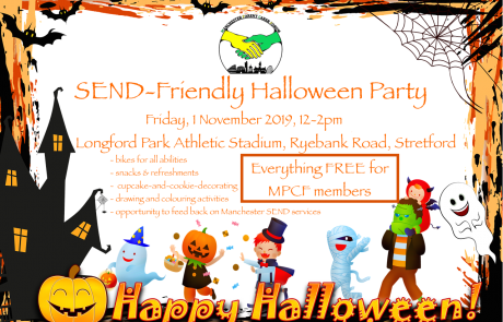 Poster for MPCF's SEND Halloween Party   Includes a halloween-themed frame (with bats, pumpkin, ghost, etc) and costumed children in the background   image credits: LadyMarisa and AnnaliseArt on pixabay.com