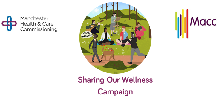An illustration of various people - and a dog - outdoors doing things that contribute to wellness; includes logos of Macc and Manchester Health & Care Commissioning