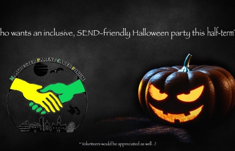 Teaser for MPCF's SEND Halloween Party   Includes a scary halloween background and MPCF's halloween-themed logo in the foreground   image credits: Yuri_B on pixabay.com