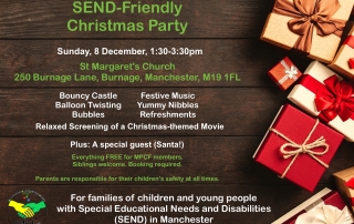 Poster for MPCF's SEND Christmas Party 2019 | Includes a Christmas-themed background with loads of Christmas gifts, plus details of the event and MPCF's Christmas-themed logo on the foreground | image credits: George Dolgikh from pexels.com