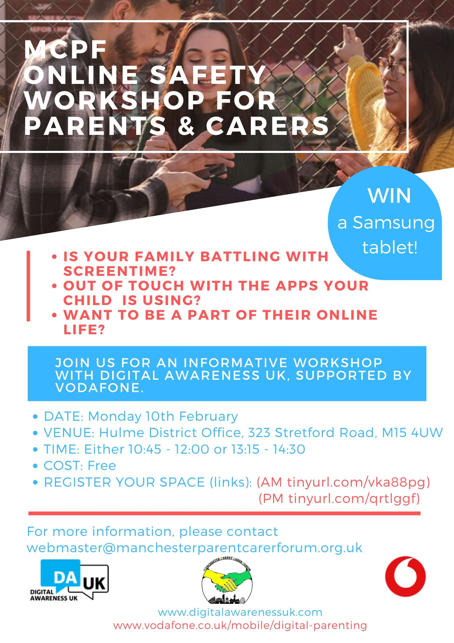 Poster for the MPCF Online Safety Course for Parents & Carers, with details of the event in text, a photo of 3 adults looking at a smartphone, and the logos of MPCF, course providers Digital Awareness UK, and their sponsor Vodafone